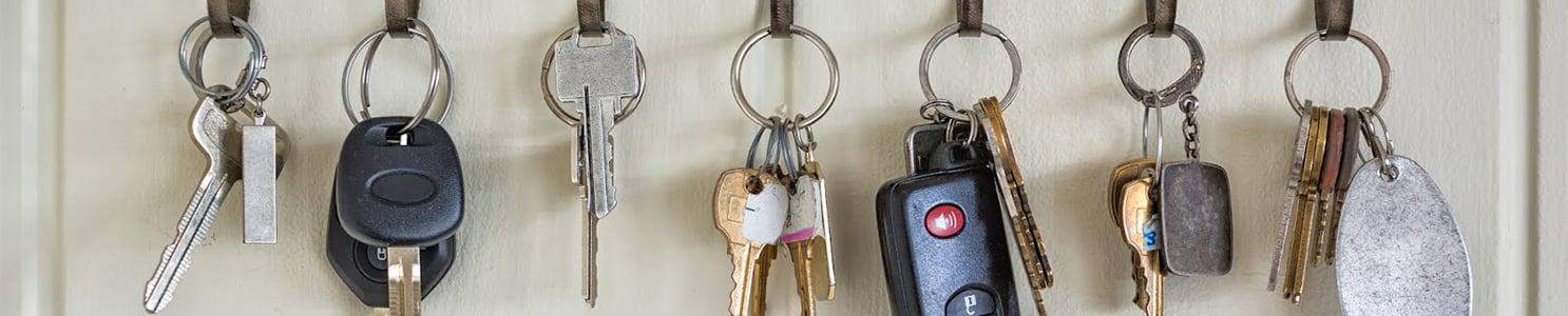 Keys Hanging on Hooks on a Wall [522384013]-1