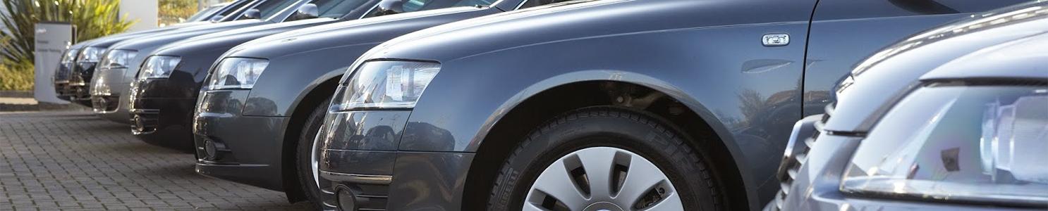 Row of metallic blue cars in car dealers car park 80033620